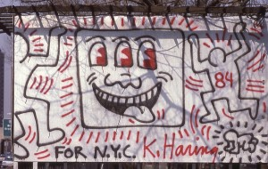 Keith Haring Artwork along FDR Drive NYC, 1984